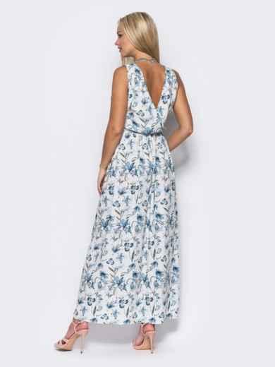 Платье в пол с двойным низом белое - 11644, фото 4 – интернет-магазин Dressa