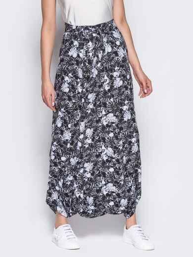 Принтованная юбка-трансформер черная - 12889, фото 1 – интернет-магазин Dressa