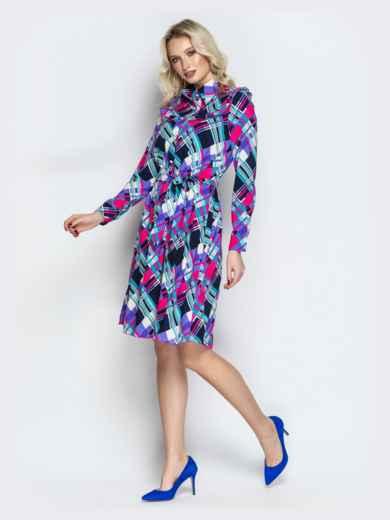 Принтованное платье-рубашка с рюшами на кокетке фиолетовое - 21337, фото 2 – интернет-магазин Dressa