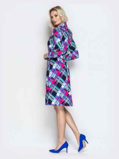 Принтованное платье-рубашка с рюшами на кокетке фиолетовое - 21337, фото 3 – интернет-магазин Dressa