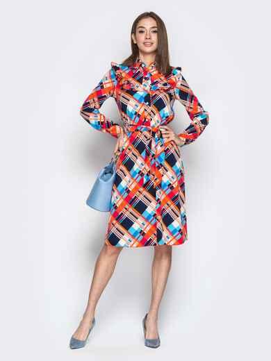 Принтованное платье-рубашка с рюшами на кокетке оранжевое - 21338, фото 1 – интернет-магазин Dressa