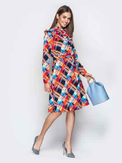 Принтованное платье-рубашка с рюшами на кокетке оранжевое - 21338, фото 2 – интернет-магазин Dressa