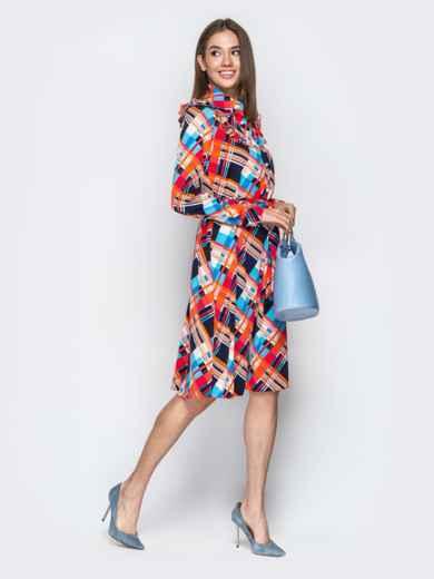 Принтованное платье-рубашка с рюшами на кокетке оранжевое - 21338, фото 3 – интернет-магазин Dressa