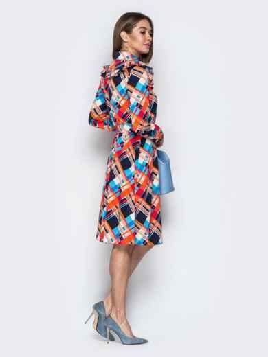 Принтованное платье-рубашка с рюшами на кокетке оранжевое - 21338, фото 4 – интернет-магазин Dressa