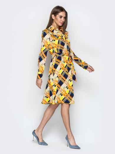 Принтованное платье-рубашка с рюшами на кокетке желтое - 21339, фото 2 – интернет-магазин Dressa