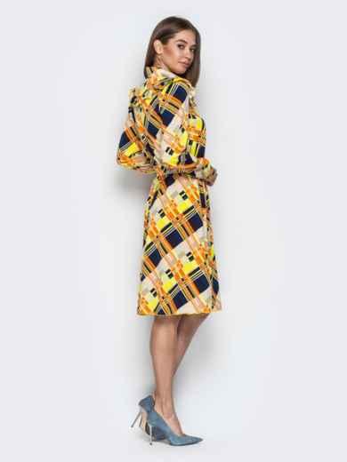 Принтованное платье-рубашка с рюшами на кокетке желтое - 21339, фото 3 – интернет-магазин Dressa