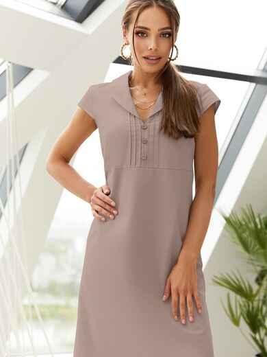 """Приталенное платье из льна с рукавом """"крылышко"""" коричневое 54149, фото 1"""
