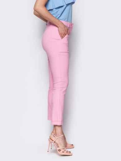 Розовые брюки со шлевками на поясе 10348, фото 2