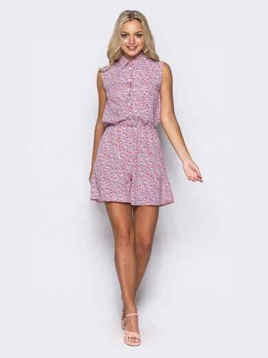 Розовый комбинезон с шортами и отложным воротником - 10422, фото 1 – интернет-магазин Dressa