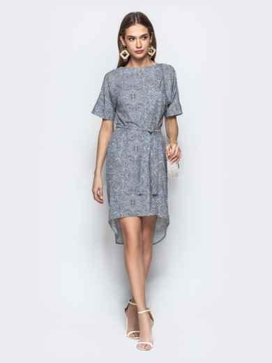 Серое платье с геометрическим принтом в стиле casual - 21971, фото 2 – интернет-магазин Dressa