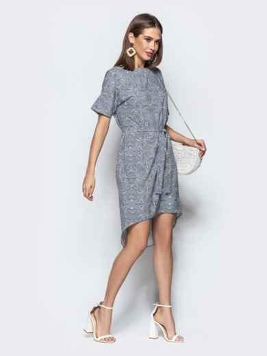 Серое платье с геометрическим принтом в стиле casual - 21971, фото 3 – интернет-магазин Dressa