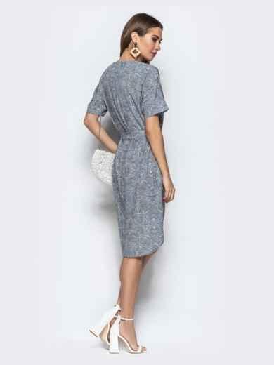 Серое платье с геометрическим принтом в стиле casual - 21971, фото 4 – интернет-магазин Dressa