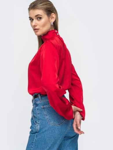 Шелковая рубашка с воротником-стойкой красная 45750, фото 2