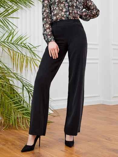 Широкие брюки на резинке с карманами черные 53664, фото 1