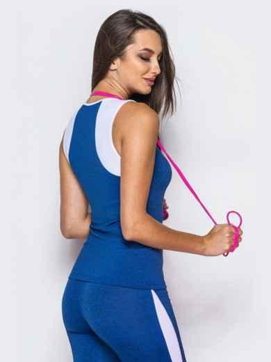 Синяя спортивная майка с белой вставкой - 17206, фото 2 – интернет-магазин Dressa