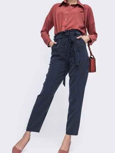 Тёмно-синие брюки в полоску с резинкой по талии 45752, фото 1