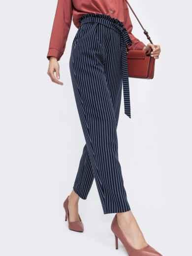 Тёмно-синие брюки в полоску с резинкой по талии 45752, фото 2