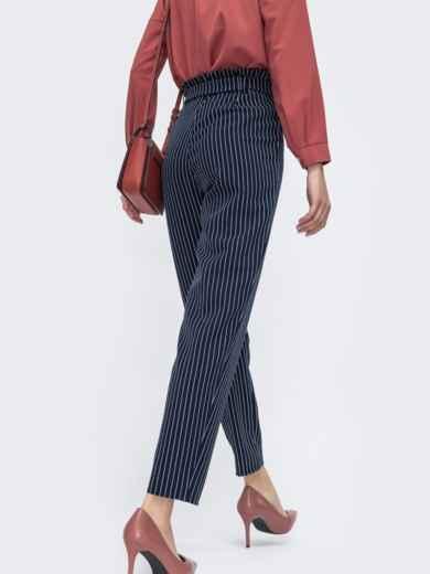Тёмно-синие брюки в полоску с резинкой по талии 45752, фото 3