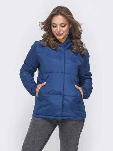 Укороченная куртка с вшитым капюшоном синяя 41300, фото 1