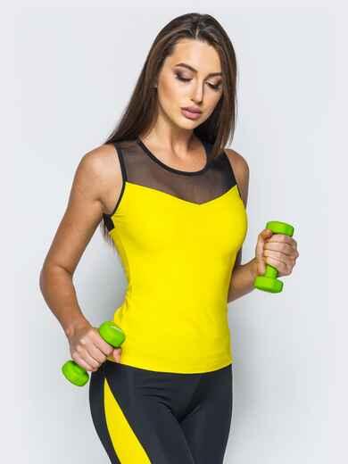 Желтая спортивная майка с черной эластичной сеткой - 17204, фото 1 – интернет-магазин Dressa