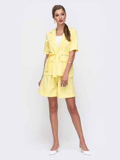 Желтый комплект с шортами в стиле сафари 49545, фото 1