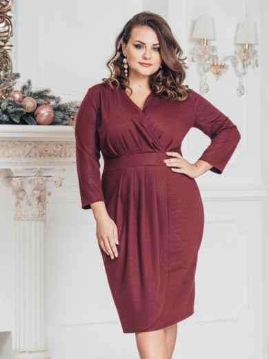 Бордовое платье большого размера с нитью люрекса 43244, фото 1