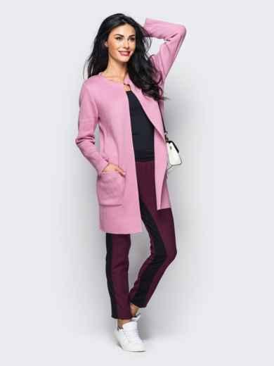 Кардиган с карманами и крючком на горловине розовый 22114, фото 1