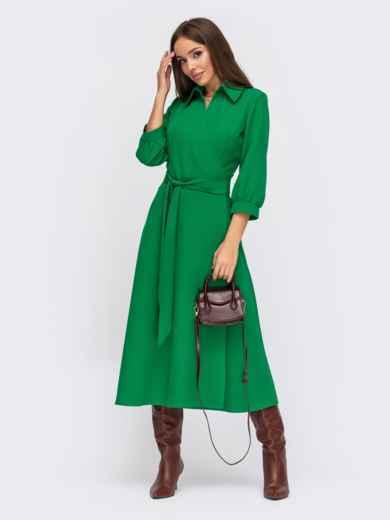 Зеленое платье на запах из крепа с отложным воротником 55599, фото 1