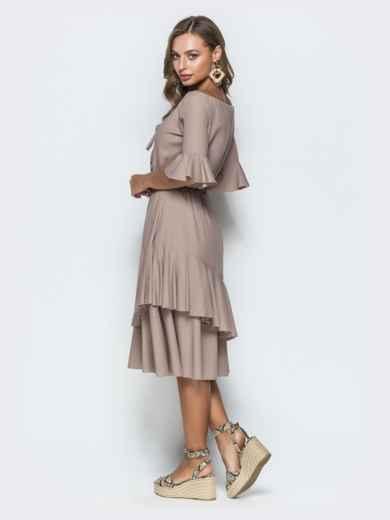 Бежевое платье с открытыми плечами и двухслойной юбкой 39002, фото 3