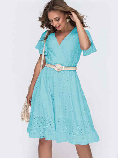 Бирюзовое платье из прошвы с резинкой по талии 49564, фото 1