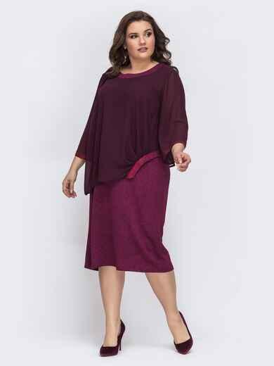 Бордовое платье с шифоновым верхом 43248, фото 1