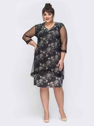 Чёрное платье с принтованным люрексом 43251, фото 1