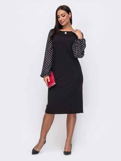 Чёрное платье батал с рукавами из шифона в горох 51530, фото 1