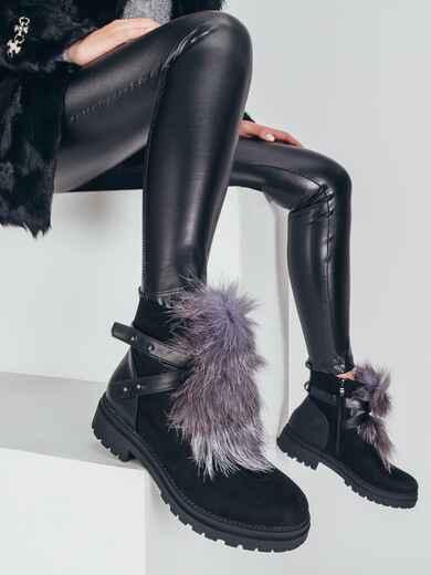 Демисезонные ботинки с меховой вставкой чёрные 51433, фото 1