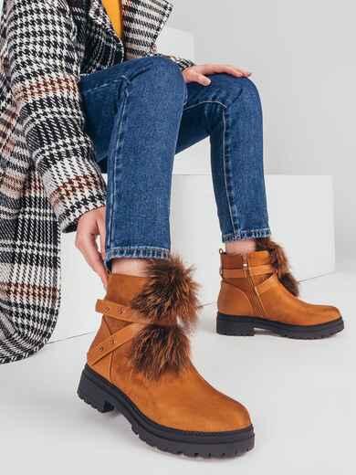 Демисезонные ботинки с меховой вставкой коричневые 51434, фото 1