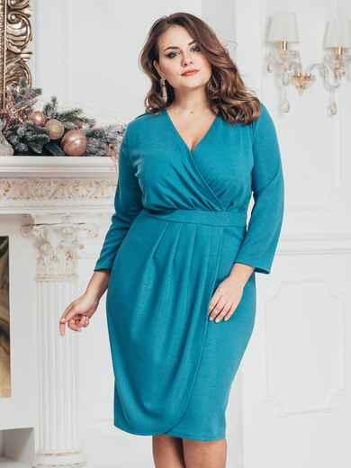 Голубое платье большого размера с нитью люрекса 43246, фото 1