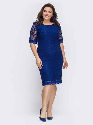 Приталенное платье из гипюра синее 43265, фото 1