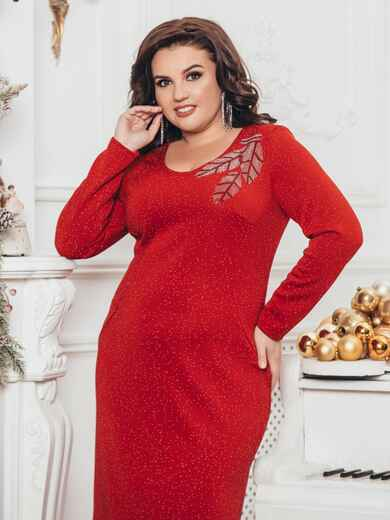 Платье большого размера с люрексом красное 43257, фото 1