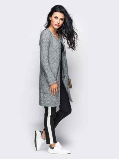 Серый вязаный кардиган с накладными карманами - 10380, фото 2 – интернет-магазин Dressa