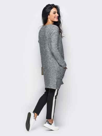 Серый вязаный кардиган с накладными карманами - 10380, фото 3 – интернет-магазин Dressa