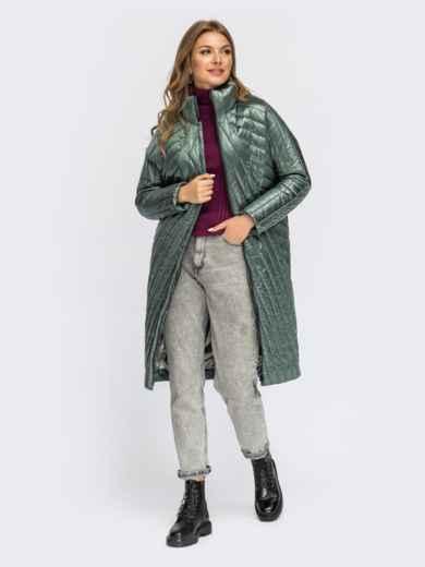 Стеганая зимняя куртка с воротником-стойкой зеленая 54985, фото 1