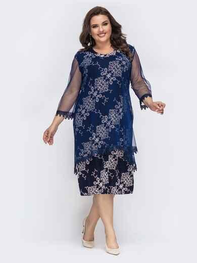 Тёмно-синее платье с принтованным люрексом 43252, фото 1
