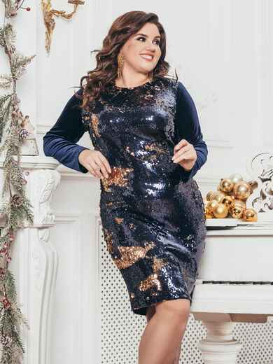 Тёмно-синее платье из велюра с пайетками на полочке 43263, фото 1