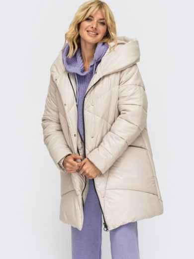 Зимняя куртка батал молочного цвета с капюшоном 54986, фото 1