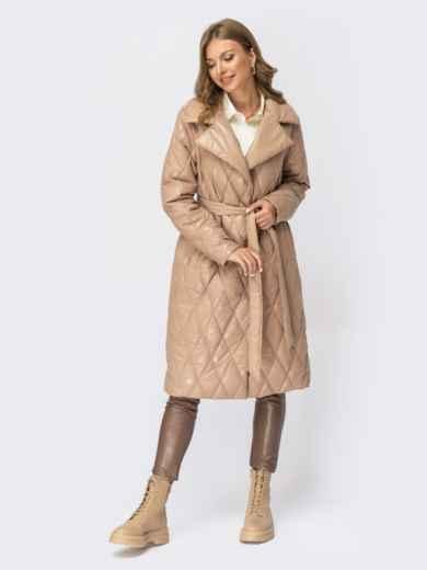 Зимняя стёганая куртка в стиле oversize бежевая 54987, фото 1
