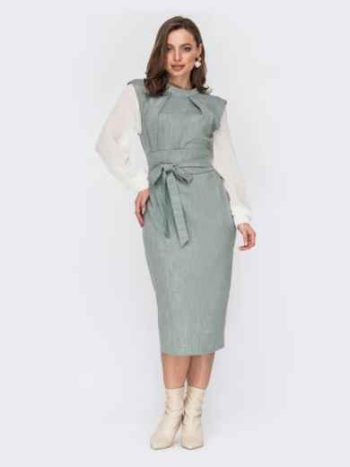 Комбинированное платье с шифоновыми рукавами и поясом зеленое 53233, фото 1