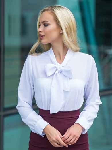 Блузка с воротником, переходящим в бант белая 14115, фото 1