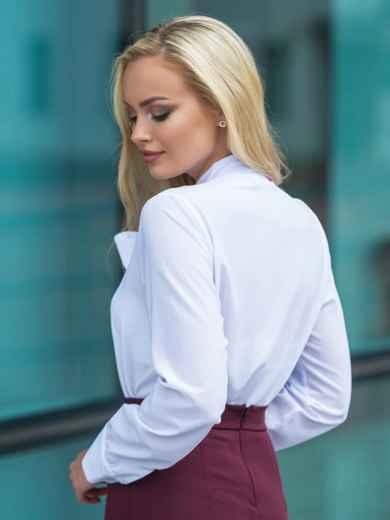 Блузка с воротником, переходящим в бант белая 14115, фото 2