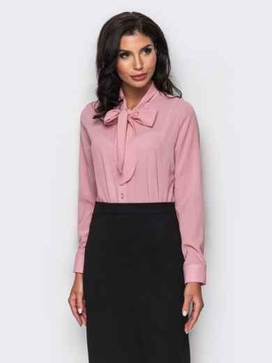 Блузка с воротником, переходящим в бант розовая - 12214, фото 2 – интернет-магазин Dressa