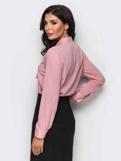 Блузка с воротником, переходящим в бант розовая - 12214, фото 3 – интернет-магазин Dressa